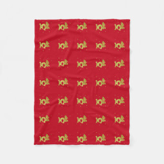 Golden Chinese Dragon Fleece Blanket