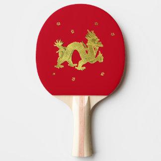 Golden Chinese Dragon Ping Pong Paddle