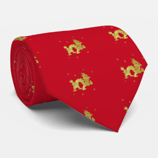Golden Chinese Dragon Tie