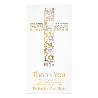 Golden Christian Cross John 14  Sympathy Thank You Picture Card