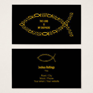 Golden Christian Fish Symbol | Elegant Business Card
