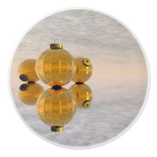 Golden Christmas balls - 3D render Ceramic Knob
