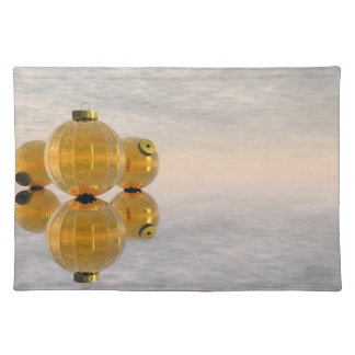Golden Christmas balls - 3D render Placemat