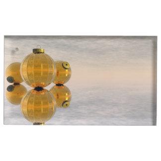 Golden Christmas balls - 3D render Table Card Holder