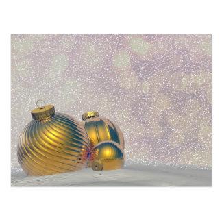 Golden Christmas balls on the snow Postcard