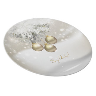 Golden Christmas Balls & Silver Pine Tree Branches Plate