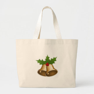 Golden Christmas Bells and Holly Canvas Bags