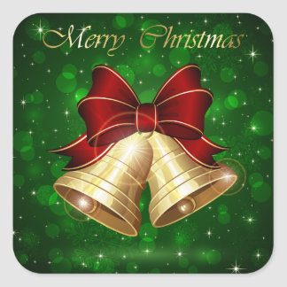 Golden Christmas Bells Red Bow Square Sticker