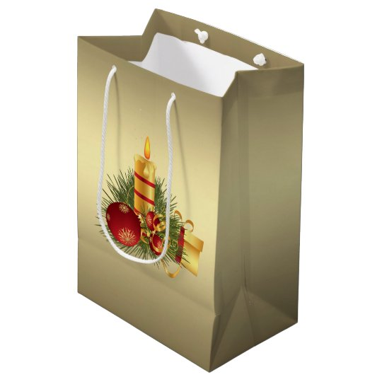 Golden Christmas Candle Medium Gift Bag