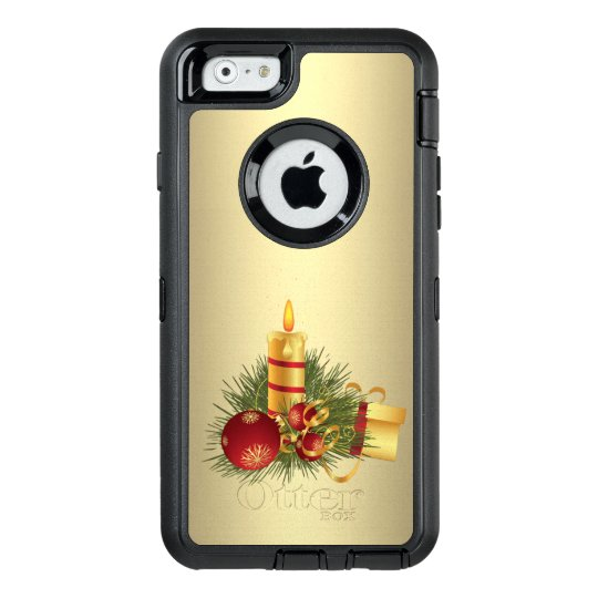 Golden Christmas Candle OtterBox Defender iPhone Case