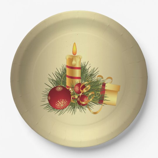 Golden Christmas Candle Paper Plate