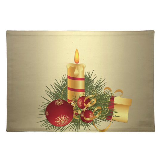 Golden Christmas Candle Placemat