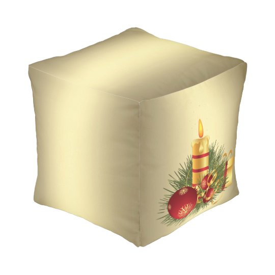 Golden Christmas Candle Pouf