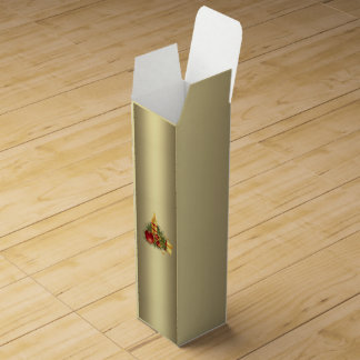 Golden Christmas Candle Wine Box