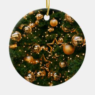 Golden Christmas Ceramic Ornament