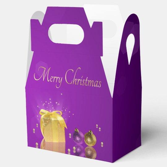 Golden Christmas Gift Box - Favour Box Gable