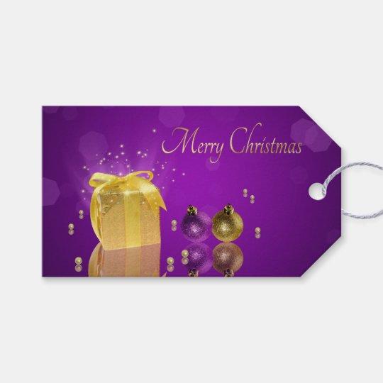 Golden Christmas Gift Box - Gift Tag