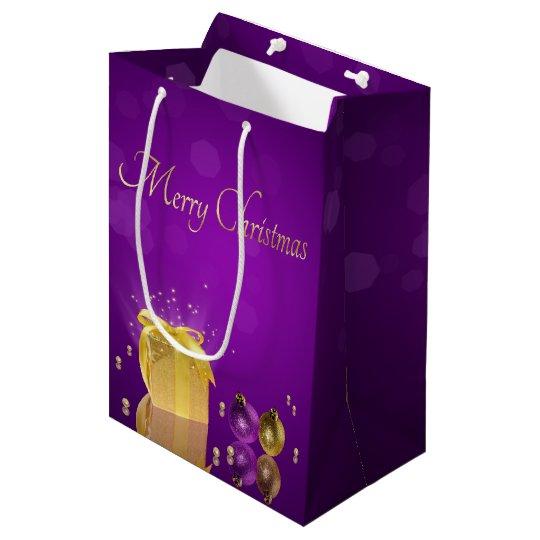 Golden Christmas Gift Box - Medium Gift Bag