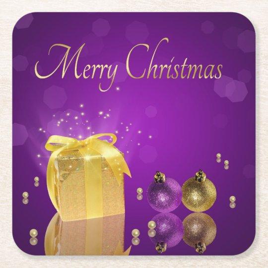 Golden Christmas Gift Box - Paper Coaster