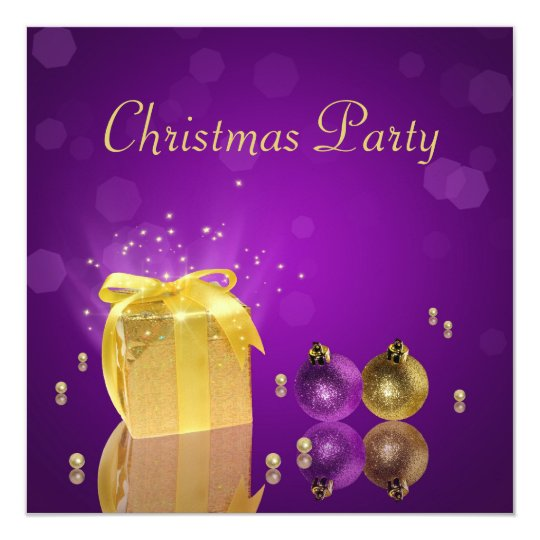 Golden Christmas Gift Box - Party Invitation