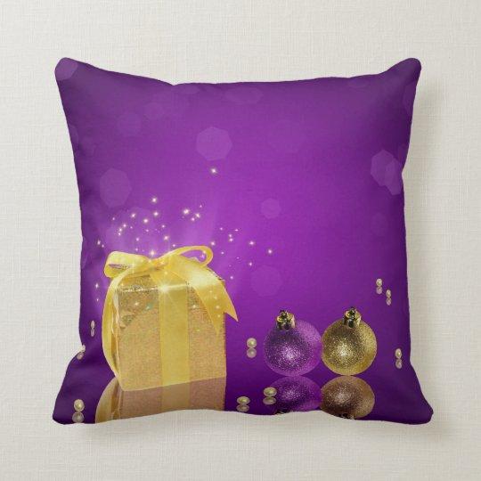 Golden Christmas Gift Box - Pillow