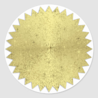 Golden Christmas Holiday Stars Zig Zag Edge Classic Round Sticker