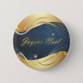 Golden Christmas motive with blue background... 6 Cm Round Badge