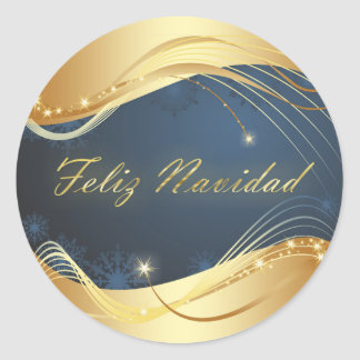 Golden Christmas motive with blue background... Classic Round Sticker