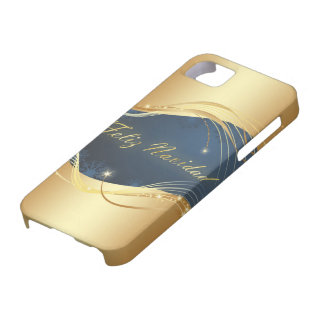 Golden Christmas motive with blue background... iPhone 5 Case