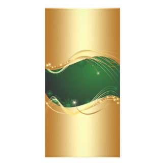 Golden Christmas motive with green background... Card