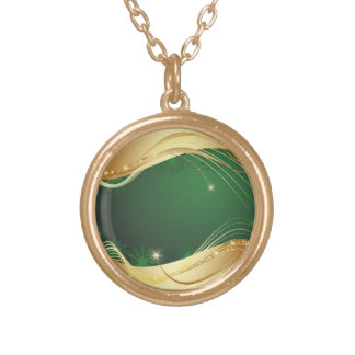 Golden Christmas motive with green background... Gold Plated Necklace