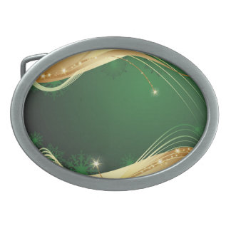 Golden Christmas motive with green background... Oval Belt Buckle