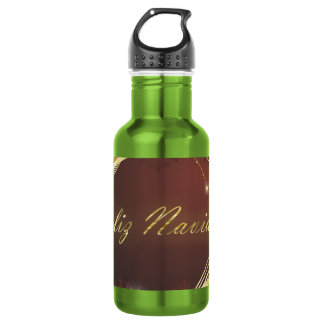 Golden Christmas motive with red background... 532 Ml Water Bottle