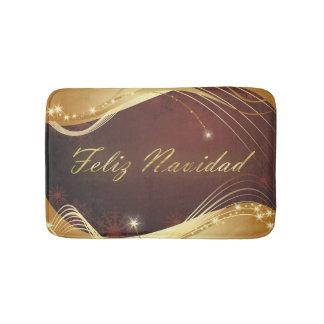 Golden Christmas motive with red background... Bath Mat