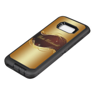 Golden Christmas motive with red background... OtterBox Defender Samsung Galaxy S8+ Case
