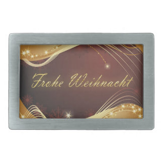 Golden Christmas motive with red background... Rectangular Belt Buckle
