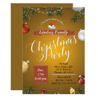 Golden Christmas Party Invitation