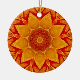 Golden Christmas Rain Fractal Ceramic Ornament