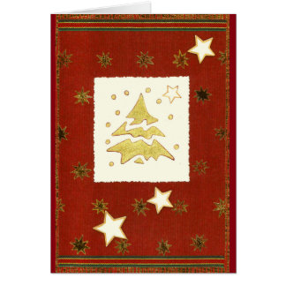GOLDEN CHRISTMAS TREE ABSTRACT on red-brown Card