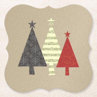 Golden Christmas Tree Fancy Modern Stylish Chic Paper Coaster