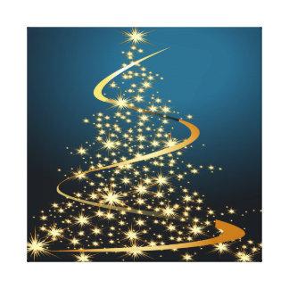 Golden Christmas Tree Premium Wrapped Canvas