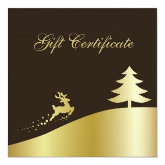 Golden Christmas Tree & Reindeer Gift Certificate Card