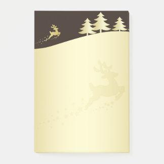 Golden Christmas Tree & Reindeer - Post-it® Notes