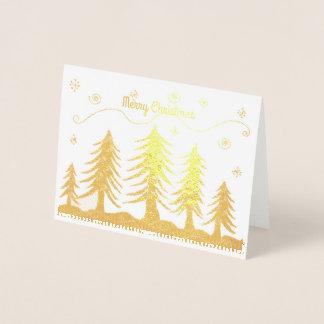 Golden Christmas Trees Foil Card