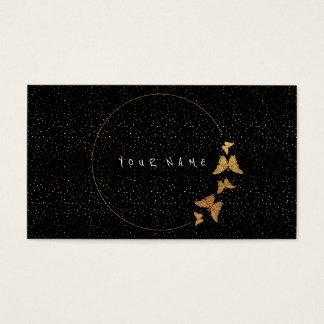 Golden Cirkles Glitter Confetti Butterfly Black Business Card