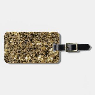 Golden Clockwork Gear Pattern Texture Background Luggage Tag