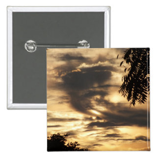 Golden Clouded Sunrise 15 Cm Square Badge