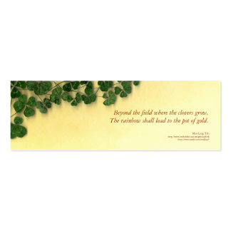Golden Clover Dreams poetry bookmark Business Card Template