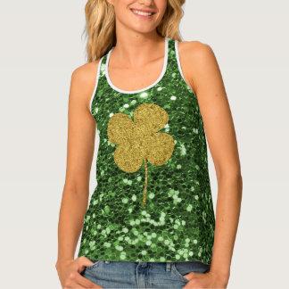 Golden Clover Green Faux Glitter Singlet