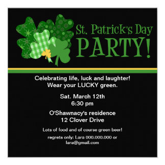 Golden Clover St Patrick s Day Party Invitation